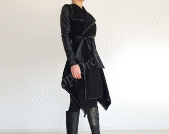 KRISTA black leather sleeves wrap cardigan sweater jacket cover up spring fashion women plus size shawl collar