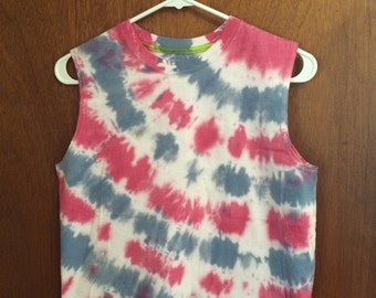 Red white and blue tie dyed tank, kids XL 14/16