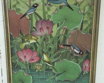 "FABRIC BALI Framed and Signed Large 26"" X 23"", Zen, Birds, Nature Art at Modern Logic"