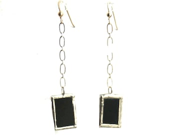 Dangling Earrings- Black Drop Earrings- Stained Glass Earrings- Chain Linked Earrings- Hanging Earrings- Citybitz