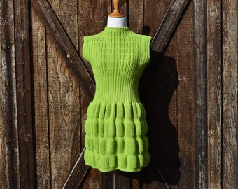 Vintage 60s Mod Lime Green Sweater Dress / Size Small / S