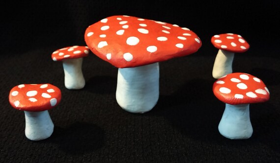& Red Mushroom Fairy Furniture Table and Chair Set Garden Decor