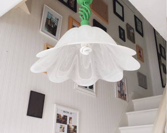 Pendant light wrought iron fixture, white glass lamp shade, Upcycled hanging light Annie Sloan Antibes Green,  vintage farmhouse lighting