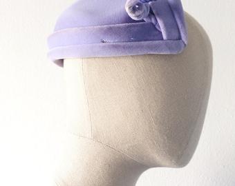 vintage 1940s hat・lilac velvet・rhinestone twist・FREE SHIPPING