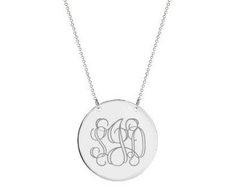 FLASH SALE 10% OFF Silver Disc monogram necklace 1 inch pendant select any initial made with 925 Sterling silver