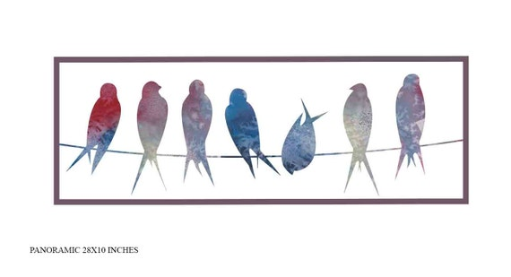Vögel auf Draht Kunstdruck Vögel Wand Kunst moderne Wand Kunst