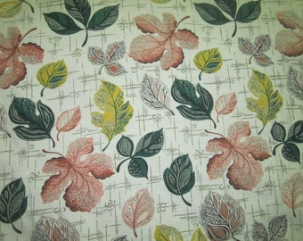 Vintage 1940s/50s Lot of 3 Panels Barkcloth Curtains with Botanical Design