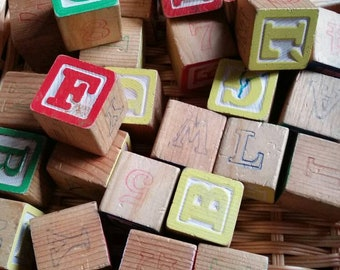 SALE! Wooden Blocks, (38) Alphabet Blocks, Double Sided, Red/Blue and Green/Yellow, Craft Projects, Name Plaque, Nursery, Childrens Blocks
