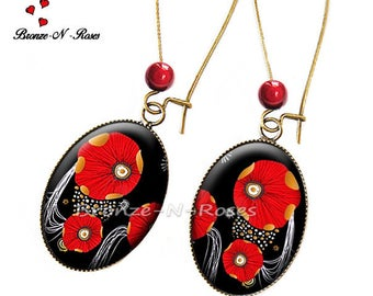 Earrings poppies ° ° ° ° red flower cabochon bronze costume jewelry