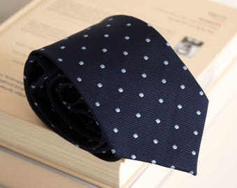Vintage silk tie, geometric mens necktie, silk neck tie, italian cravat cravatte / classic navy blue dots