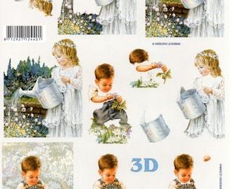 1 x sheet 3D young children in the garden (9774)