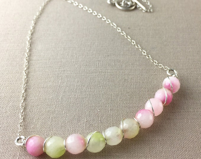 Agate Necklace // wire wrapped beaded necklace, watermelon necklace, pink and green necklace, jewelry under 50, delicate necklace