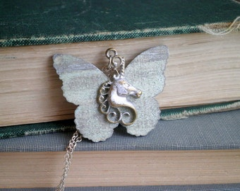 Butterfly Unicorn Bohemian Necklace - Shabby Chic Silver Unicorn Charm Painted Wood Butterfly Pendant - Magic Unicorn Boho Chic Jewelry Gift