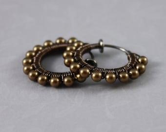 Clip on hoop earrings Antique Brass and Gunmetal non pierced