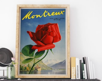 Montreux Switzerland 1938 Vintage Switzerland Travel Poster Art Print