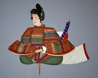 1800's Antique Oshie Japanese Silk Kimono Doll Seated Samurai Oshi-e Okiage Ningyo 6