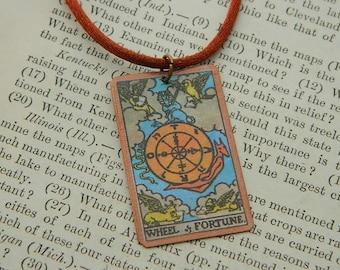 Tarot pendant Wheel of Fortune minimalist jewelry mixed media jewelry