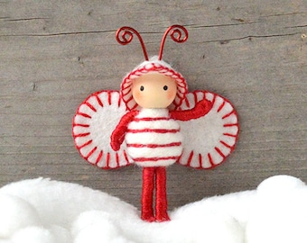Candy Cane Christmas Bug Elf Bendy Doll