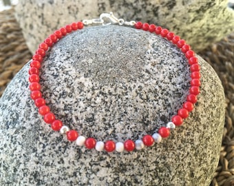 Red Coral with Matte White Howlite Gemstones Bracelet with Silver Plated Beads