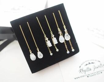 June Birthstone Earrings, Swarovski  Crystal threader Earnings, Moonstone Threader Earrings, Moonstone Long Earrings, Moonstone Earrings