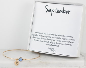 Personalized September Birthstone Gold Bangle Bracelet, Personalized Gold Bracelet, Sapphire Bangle, September Birthstone Bracelet #773