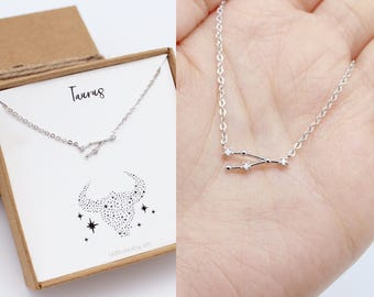 Taurus necklace, constellation, necklace, Taurus gifts, zodiac jewelry, Taurus jewelry, zodiac necklace, horoscope necklace, rose gold