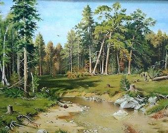 Ship Grove, copy, Shishkin, artist, Elena Udalova, painting, landscape, paintings, grove, oil painting,