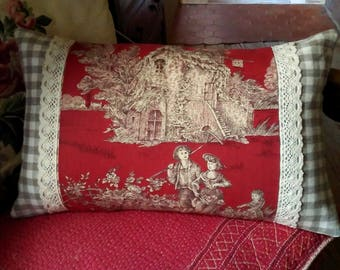 French country cushion pillow vintage antique fabrics Toile de Jouy brocante linen cotton lace red hand made in France