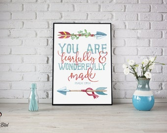 Fearfully and Wonderfully Made Psalm 139:14 Sign or Card | Instant Download | 5x7 8x10 11x14 | Print it yourself! | Instant Download