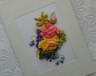 Mothers day gift Greeting card in frame embroidery with ribbons Home decor wall art 3d flower Embroidered picture Roses and Violets Birthday