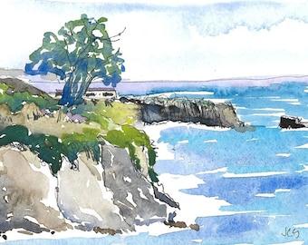 Original Watercolor and Ink Landscape California Coast Ocean Art Seascape  Tree Cliffs Rocks