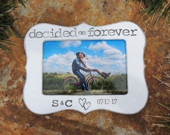 Decided on Forever Engagement Gift Personalized Engagement picture Frame Wedding Gift Bridal shower bride to be Wedding Engagement Gift idea