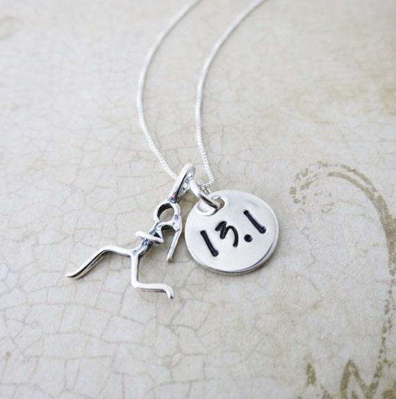 Half Marathon Necklace - Runner Necklace - Runner Jewelry - Half Marathon Achievement Jewelry - Sterling Silver Charm - Runner Girl