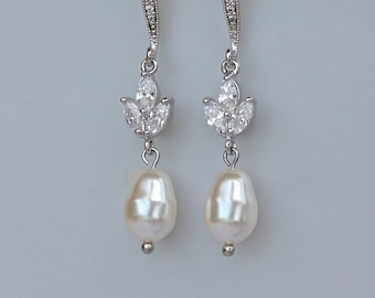 Pearl Bridal Earrings, Crystal Earrings, Pearl Drop Earrings,  HAYLEY FH