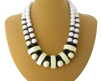 Retro Black  White Ivory Beaded Statement Necklace Vintage 1980s