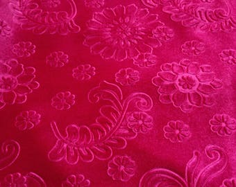 Beautiful Fuschia Floral Embossed Fabric Des.5  Sold By the Yard