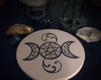 Sandstone Triple Moon Pentacle Altar Tile