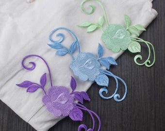 Embroidery Flower Patches. Iron-on Backing. Perfect for Denim Shorts, Floral Applique iron on, Embroidered Sewing supplies Applique