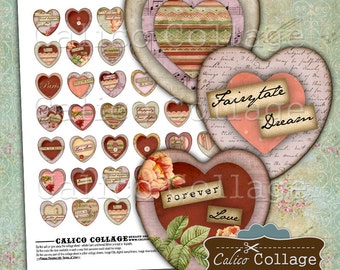 Art Heart Digital Collage Sheet, Heart Collage Sheet, 25mm Hearts, Images for Pendants, Heart Cabochons, Collage Sheets, CalicoCollage
