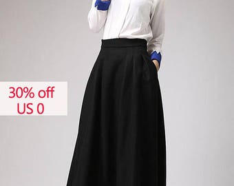30% off skirt, Black skirt,maxi skirt, wool skirt,winter skirt, pleated skirt, ladies skirts, high waisted skirt, long skirt