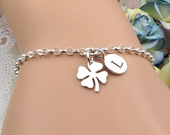 Personalized Clover Bracelet, sterling silver initial clover jewelry, lucky charm bracelet, shamrock, good luck