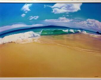 Ocean LANDSCAPE Hawaii beach surf  MAUI wave signed original painting by Lori Ryland 30 x 40