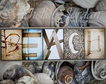 Wood-mounted BEACH Alphabet Photography Artwork beachy shore ocean sea nautical seashells rustic