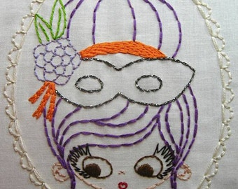 Portrait of a Masked Girl Masquerade Digital Embroidery Patterns