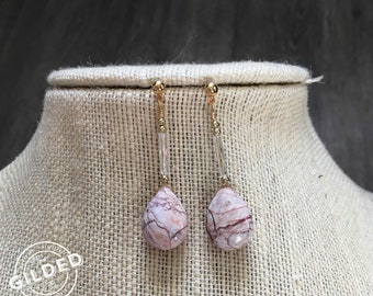 Lane Stud Drops — gold-fill, white and pink veined turquoise stones, czech glass wire gold beads dainty gift nashville boho spring earrings