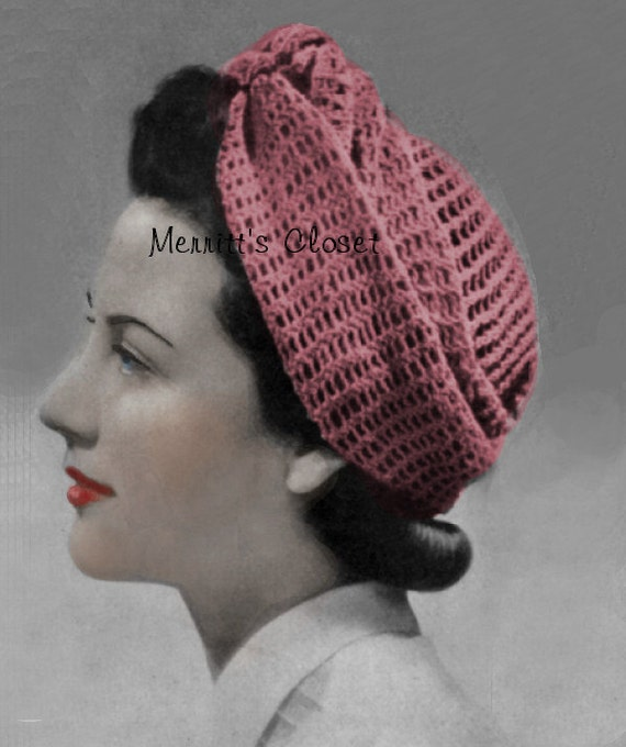 Turban Wrap Head Scarf 1940\'s Wartime, Vintage Pattern Knitted ...