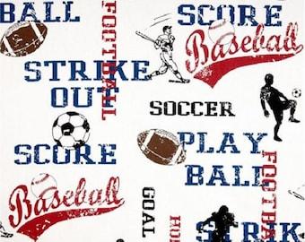 1/2 Yard Sports football, soccer, baseball Fabric - Premier Prints Sports American Blue/White Fabric HALF YARD red white and blue