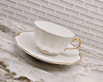 Antique Theodore Haviland Limoges white and gold teacup, gold gilt, Limoges teacup, French tea cup and saucer, wedding gift