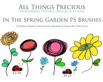 33 Fine Art Digital In The Spring Garden  PHOTOSHOP BRUSHES and 33 PNG Clipart Elements