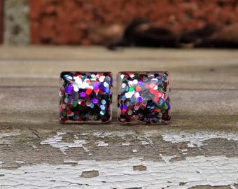Confetti Glitter Stud Earrings, Square, Resin Earrings, Sparkle, Stud Earrings, Post Earrings,Square,Accessories, Gift for Her, Shine, Studs